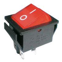 Přepínač kolébkový 2pol/4pin ON-OFF 250V/15A prosvětlený červený 02620007