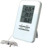 Digitální teploměr TE09, teplota, velký displej, datum, čas, bílý