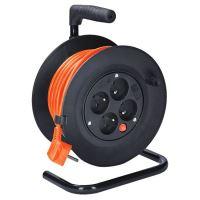 Solight prodlužovací přívod na bubnu, 4 zásuvky, 15m, oranžový kabel, 3x 1,0mm2 - PB22O