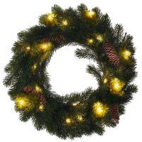 Solight vánoční věnec, průměr 40cm, 15x LED, IP44, 3x AA, časovač - 1V239