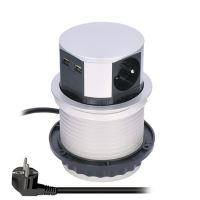 Solight výsuvný blok zásuvek, 3 zásuvky, 2x USB, kruhový tvar nízký,  prodlužovací přívod 1,5m, 3 x 1mm2, stříbrný - PP100USB