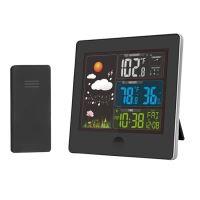 Solight meteostanice, barevný LCD, teplota, vlhkost,RCC, černá - TE80
