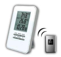 Solight bezdrátový teploměr, teplota, čas, budík, bílý - TE44