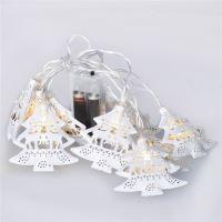 Solight LED řetěz vánoční stromky, kovové, bílé, 10LED, 1m, 2x AA, IP20  - 1V225