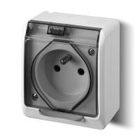 Instalační zásuvka Galatea 5321-01 IP44 bílá-transparentní