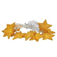 Solight LED řetěz vánoční hvězdy zlaté, 10LED řetěz, 1m, zlatá barva, 2x AA, IP20  - 1V212