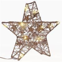 Solight vánoční hvězda glitter, zlatá, kovová, 14x LED, 2x AA - 1V240
